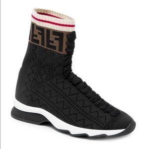 Fendi Hi Top Knit Sneakers Boots Sock Black 8